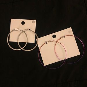 Large Hoop Earrings Ombré and Silver/ F21